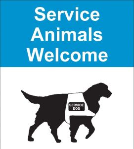 a poster announces that service dogs are welcome