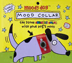 "Package for Mood Collar, which is not a real product. Shows cartoon dog with ""mood ring"" type stone in his collar."