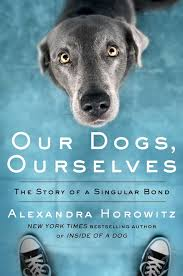 the cover of Our Dogs, Ourselves by Alexandra Horowitz shows a dog peering up at a person