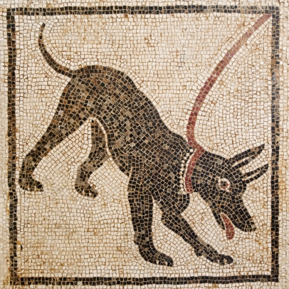 Ancient mosaic showing black dog on a red leash