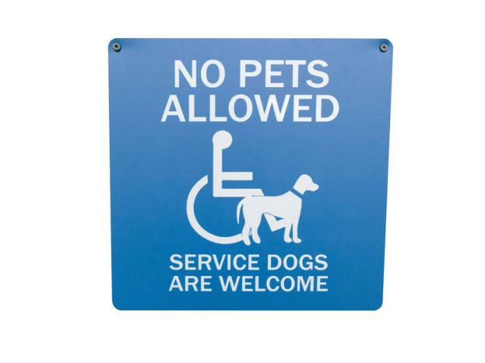"""sign reads """"no pets allowed. service dogs welcome."""""""