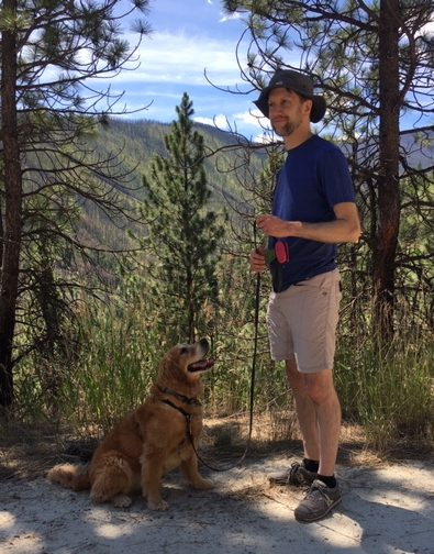 Golden retriever Cali gazes lovingly at Ken, our digital nomad friend