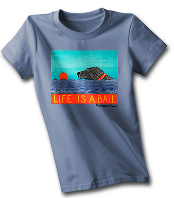 A blue t-shirt with a graphic of a black Lab swimming after a red ball