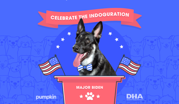 A photo of Major, a German Shepherd, is surrounded by drawings of flags and a podium