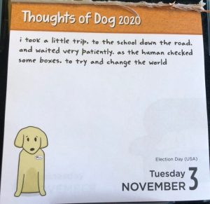 "Calendar page showing dog saying ""Today I waited patiently while the human checked little boxes to try to change the world"""