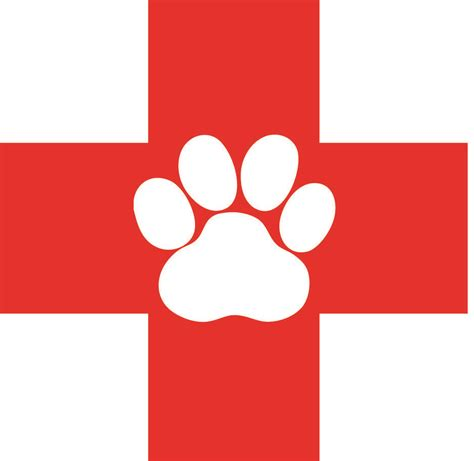 A red cross with a paw print in the center